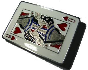 Queen of Hearts Belt Buckle + display stand. Code CG3